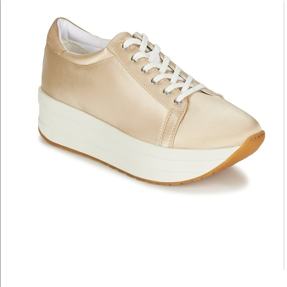 Vagabond satin champagne platform sneakers NWT